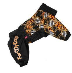 """ForMyDogs Комбинезон для больших собак """"Цепи"""", черно/коричневый, модель для девочек, размер D1, на флисе"""