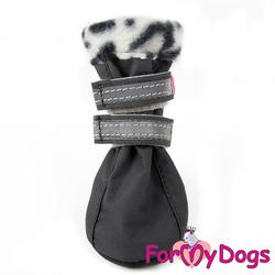 ForMyDogs Обувь для мелких пород собак на флисовой подкладке, серые, размер №2