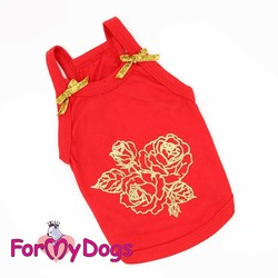 """ForMyDogs Майка для собак мелких пород """"Розы"""" из трикотажа красная размер №14"""