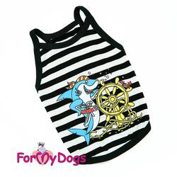 """ForMyDogs Майка для собак мелких пород """"Акула Пират"""" из трикотажа черно/белая размер №12"""