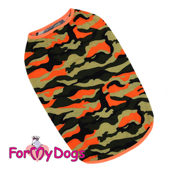ForMyDogs Майка для крупных собак оранжевая камуфляж, размер С2, С3
