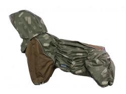 ZooAvtoritet Дождевик для французского бульдога, хаки с рисунком, размер ФР1