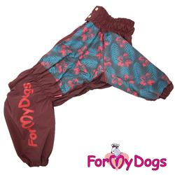 ForMyDogs Дождевик для больших собак, вишневый, модель для девочки, размер С2