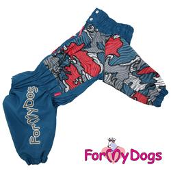 """ForMyDogs Дождевик для крупных собак """"Камуфляж"""" голубой, модель для мальчиков, размер D3"""