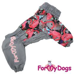 """ForMyDogs Дождевик для крупных собак """"Фламинго"""", серо/розовый, модель для девочки, размер С2, С3, D1, D2"""