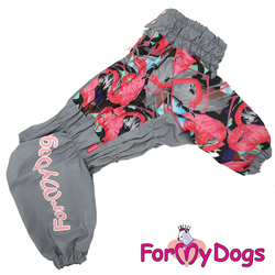 """ForMyDogs Дождевик для крупных собак """"Фламинго"""", серо/розовый, модель для девочки, размер D1"""
