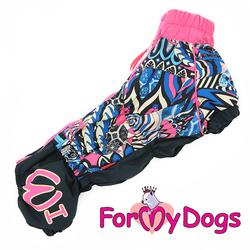 ForMyDogs Дождевик для таксы черно/розовый, модель для девочек, размер ТС1