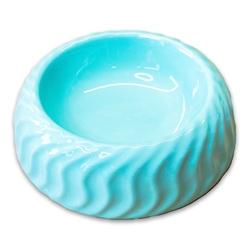 КерамикАрт Миска керамическая для животных 300мл, с волнами бирюзовый