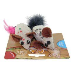 DOGMAN Игрушка для кошек Мышка тканевая с кошачьей мятой и пером (2 шт.)