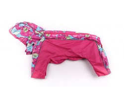 ZooPrestige Дождевик для собак Дружок, розовый/мульти, размер L, спина 32-36см