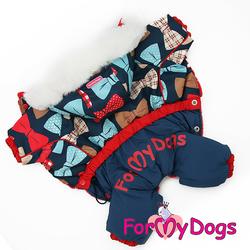 """ForMyDogs Комбинезон для маленьких собак """"Бантики"""" синий, размер №10, модель для девочек"""
