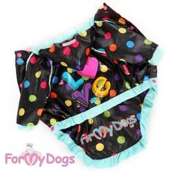 ForMyDogs Плащ-дождевик для собак черный/микс, размер №18