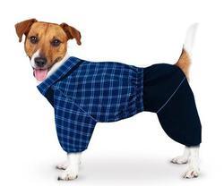 ZooTrend Дождевик для больших пород собак, синяя шотландка, размер 4XL, спина 55см