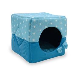 ZooTrend Лежак для собак и кошек Домик Кубик Звезды голубой М, 40х40х40см