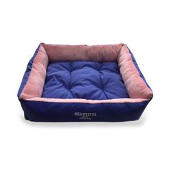 ZooTrend Лежак прямоугольный синий/розовый с плюшем, размер 51х51х17см