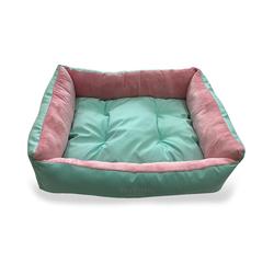 ZooTrend Лежак прямоугольный ментол/розовый с плюшем, размер 51х51х17см