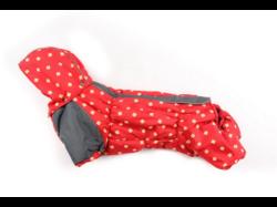ZooPrestige Комбинезон на флисе для таксы, красный/ромбики, размер ТМ2, спина 38см