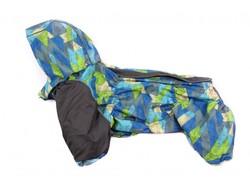 ZooAvtoritet Дождевик для французского бульдога, серо-голубой мембрана, размер ФР2