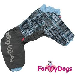 ForMyDogs Комбинезон для больших собак серо/голубой, размер С1, С2, модель для мальчиков