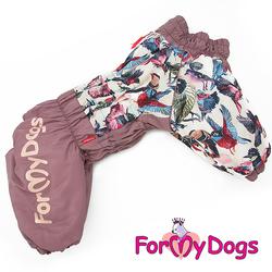 """ForMyDogs Комбинезон для крупных собак """"Птички"""" лиловый, размер С2, модель для девочек"""