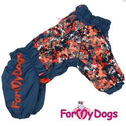 ForMyDogs Комбинезон для больших собак сине/оранжевый, размер С2, модель для мальчиков