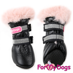 ForMyDogs Ботиночки зимние для собак черно/розовый ц/кр, размер №1, №2