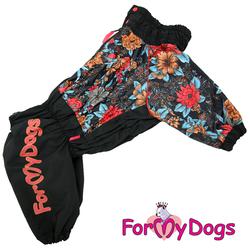 ForMyDogs Дождевик для крупных пород черный/цветы, модель для девочки, размер D3