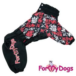 ForMyDogs Дождевик для крупных пород черно/красный орнамент, модель для девочки, размер D3