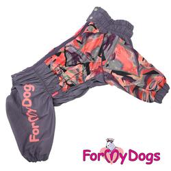ForMyDogs Дождевик для крупных пород лиловый/серый, модель для девочки, размер С1, D1