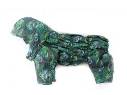 ZooAvtoritet Комбинезон для собак Дутик серый/зеленый мембрана, размер XL, спина 36-40см