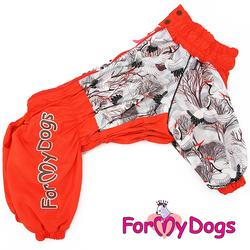 """ForMyDogs Комбинезон для крупных собак """"Аисты"""" оранжевый, размер D2, D3, модель для девочек"""