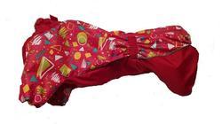 SportDog Комбинезон для таксы, теплый, на меху, красный/орнамент, спина 41см, модель для девочек.