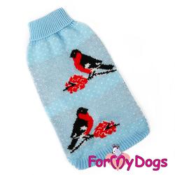 """ForMyDogs Свитер для собак голубой, вязаный """"Снeгири"""", размер №12-14"""