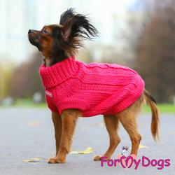 ForMyDogs Свитер для собак розовый, вязаный, размер №14-16, №16-18