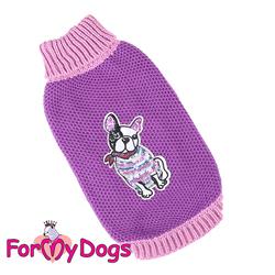 ForMyDogs Свитер для собак фиолетовый, вязаный, размер №10-12