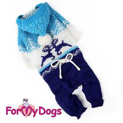 """ForMyDogs Костюм для собак вязаный """"Олени"""", синий/белый, размер 18-20"""