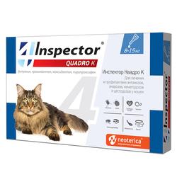 Экопром Инспектор Капли Квадро для кошек от 8кг до 15кг от внешних и внутренних паразитов