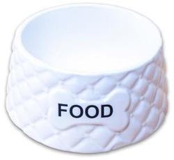 КерамикАрт Миска для собак керамическая Food белая, 680мл