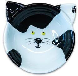 КерамикАрт Миска керамическая Мордочка кошки черно-белая, 120 мл