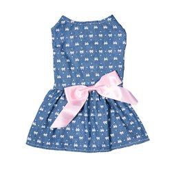 Al1 Платье для собак с принтом Бантики, голубое, размер М