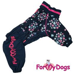 """ForMyDogs Дождевик для больших собак """"Васильки"""", темно/синий, модель для девочки, размер С2, С3"""