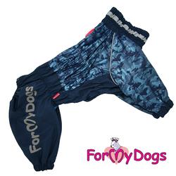 ForMyDogs Дождевик для крупных собак синий, модель для мальчиков, размер С2, С3, D1