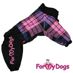 ForMyDogs Дождевик для больших собак, черно/розовый в клетку, модель для девочки, размер С1, С3, D1