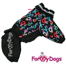 """ForMyDogs Дождевик для больших собак """"Буквы"""" черный, модель для мальчиков, размер С1, С2, С3, D3"""