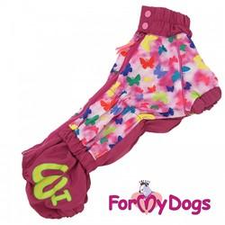 """ForMyDogs Дождевик для таксы """"Бабочки"""" розовый, модель для девочек, размер ТМ1"""