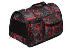 Lion Сумка-переноска Премиум для собак и кошек с карманами, красная/черная №4, размер 50х31х30см