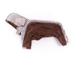 ZooAvtoritet Дождевик для собак Дружок, коричневый/горох, размер XL, спина 36-40см