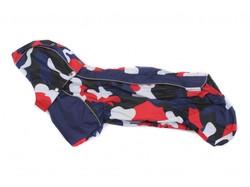 ZooAvtoritet Дождевик для таксы, синий с красно/белым, размер ТС1, спина 41-43см