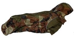 ZooAvtoritet Дождевик для таксы, коричневый камуфляж, размер ТС1, спина 41-43см
