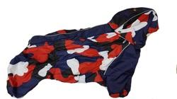 ZooAvtoritet Дождевик для французского бульдога синий/красный, размер ФР1